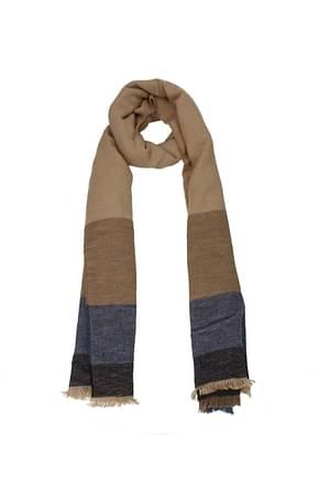 Brunello Cucinelli Scarves Men Wool Brown Blue