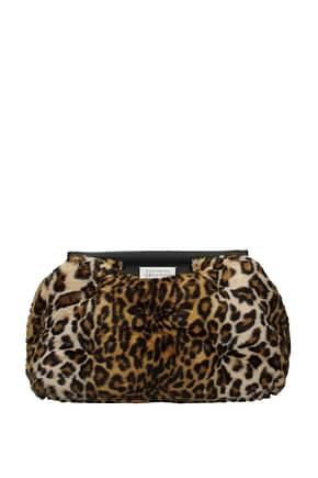 Maison Margiela Clutches Women Modacrylic Brown Leopard