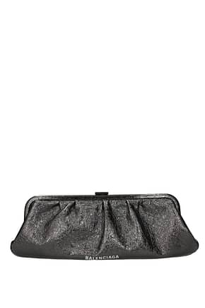 Balenciaga Clutches Women Leather Silver Ruthenium