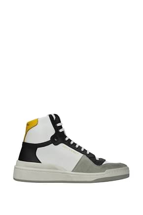 Saint Laurent Sneakers Homme Cuir Blanc Moutarde