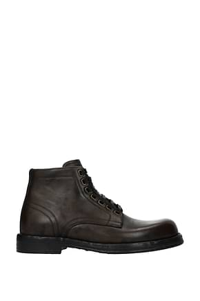 Dolce&Gabbana Ankle Boot Men Leather Gray Turtledove