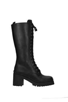 Miu Miu Boots Women Leather Black