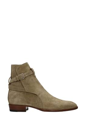 Saint Laurent Bottines Homme Suède Beige Cigare