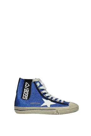 Golden Goose Sneakers v star Women Glitter Blue White