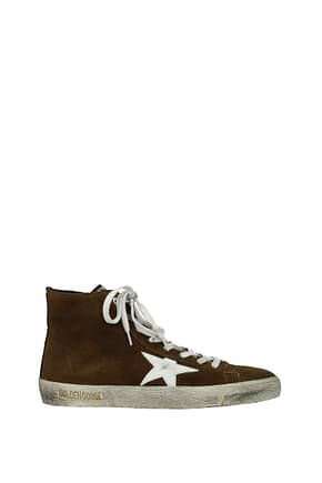 Golden Goose Sneakers Men Suede Brown White