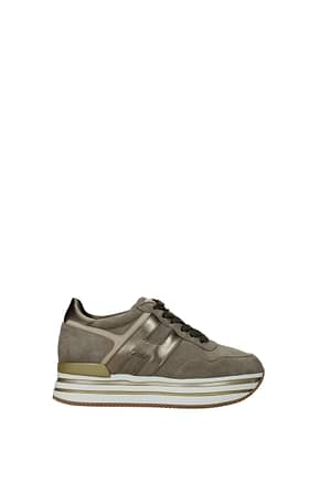 Hogan Sneakers Women Suede Beige Turtledove