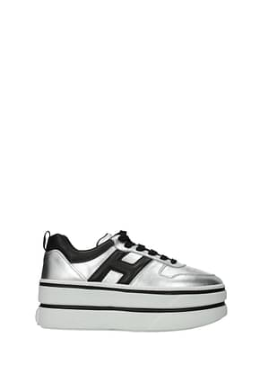 Hogan Sneakers h449 Women Leather Silver Black