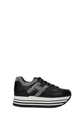 Hogan Sneakers maxiplatform Women Leather Black Leopard