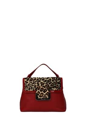 Pollini Handbags Women Leather Red Leopard
