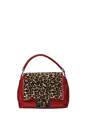 Pollini Handbags Women Leather Red Leopard