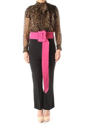 MSGM Cinturones Altos Mujer Algodón Fucsia