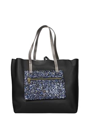 Pollini Shoulder bags Women Polyurethane Black Blue