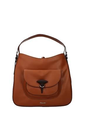 Pollini Handbags Women Leather Brown Leather