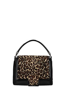 Pollini Handbags Women Leather Black Leopard