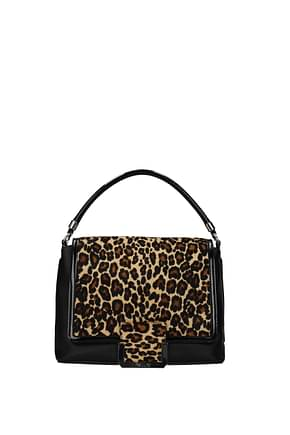 Pollini Handbags Women Leather Black Leopard