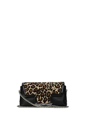 Pollini Crossbody Bag Women Leather Black Leopard