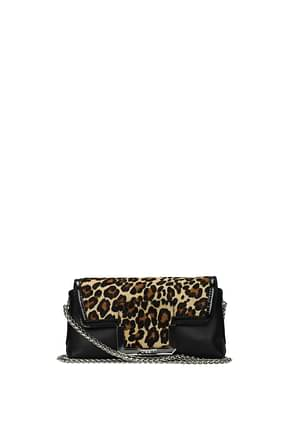 Pollini Crossbody Bag Women Leather Black Leopard