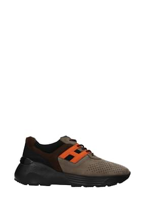 Hogan Sneakers active memory foam Homme Suède Marron Orange