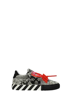 Off-White Sneakers Femme Cuir Gris Noir