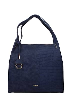 Pollini Shoulder bags Women Polyurethane Blue Copper