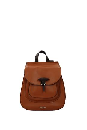 Pollini Backpacks and bumbags Women Leather Brown Leather