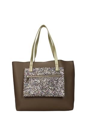Pollini Shoulder bags Women Polyurethane Gray Gold