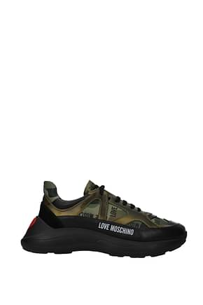 Love Moschino Sneakers Women Fabric  Black Camouflage Green