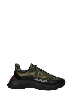 Love Moschino Sneakers Donna Tessuto Nero Verde Mimetico
