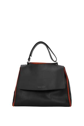 Orciani Handbags Women Leather Black Terracotta
