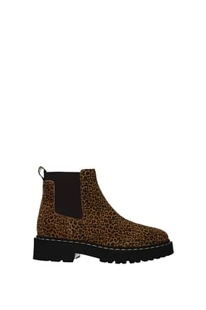 Hogan Ankle boots memory foam Women Suede Brown Leopard