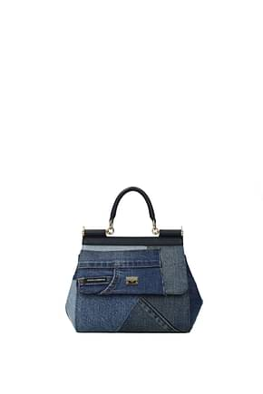 Dolce&Gabbana Handbags sicily mini patchwork Women Fabric  Blue Denim