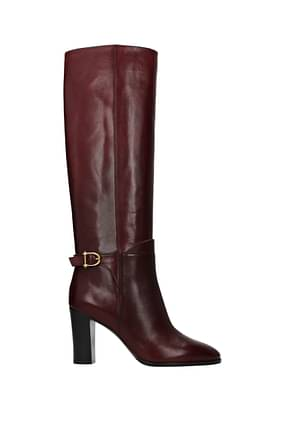 Celine Boots Women Leather Red Burgundy