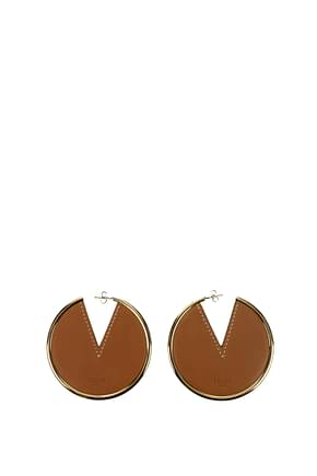 Celine Earrings Women Leather Brown Gold