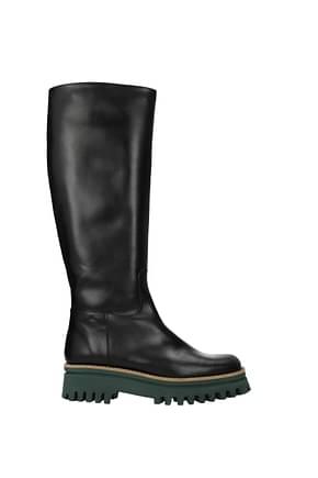 Paloma Barceló Boots Women Leather Black Pine Green