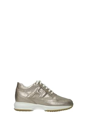Hogan Sneakers interactive Women Leather Gold Platinum