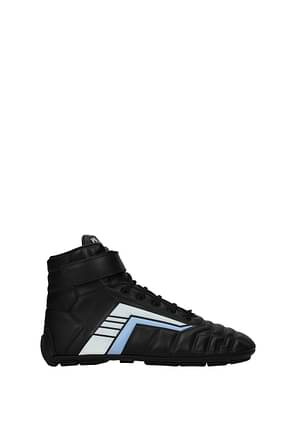 Prada Sneakers Men Leather Black Light Blue