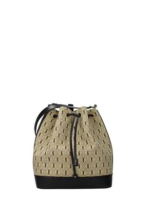 Saint Laurent Crossbody Bag Women Fabric  Beige Black