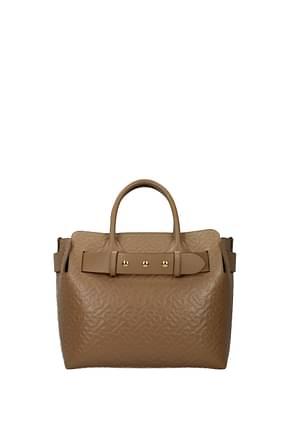 Burberry Handbags Women Leather Beige Camel