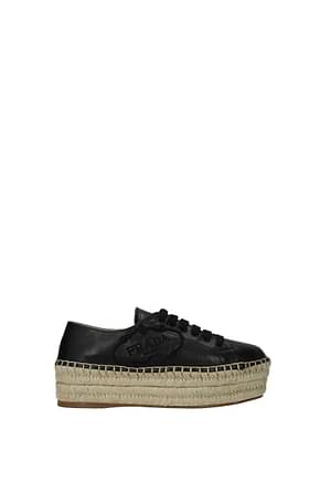 Prada Sneakers Women Leather Black