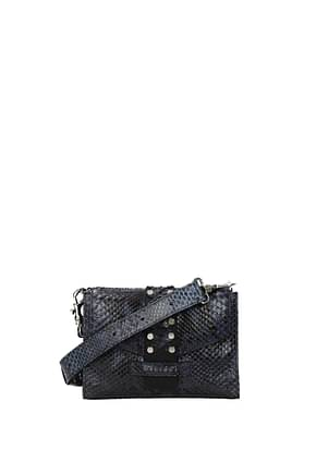 Orciani Crossbody Bag Women Leather Python Blue Sea Blue