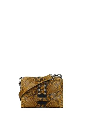 Orciani Crossbody Bag Women Leather Python Yellow Ocher