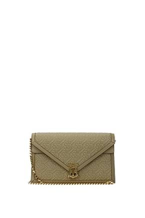 Burberry Clutches Women Leather Beige