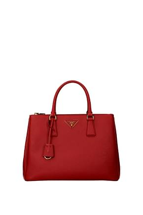 Prada Handbags Women Leather Red Fire