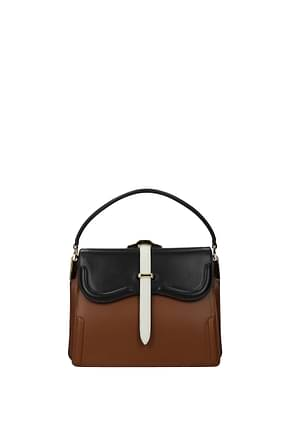 Prada Handbags Women Leather Brown Black