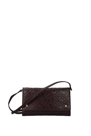 Burberry Clutches Women Leather Red Oxblood