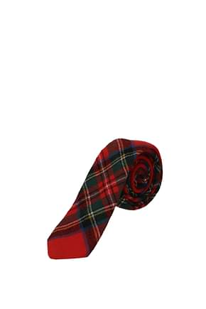 Burberry Ties Men Virgin Wool Red Green