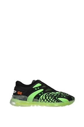 Gucci Sneakers Men Rubber Black Fluo Green