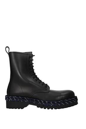 Balenciaga Ankle Boot Men Leather Black Blue
