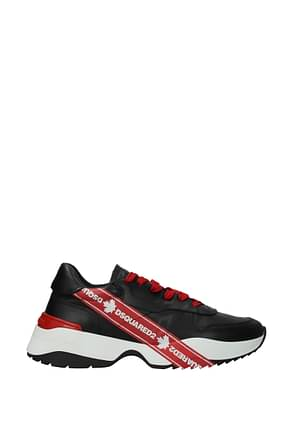 Dsquared2 Sneakers Men Leather Black Red