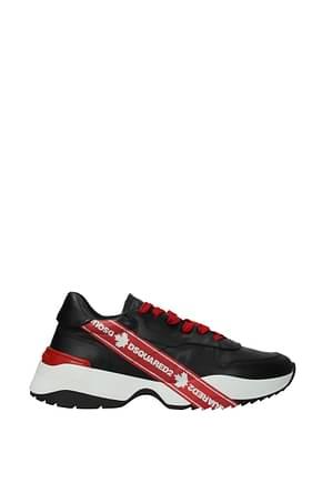 Dsquared2 Sneakers Uomo Pelle Nero Rosso